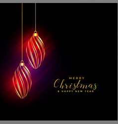 shiny golden christmas balls background with vector image