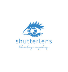 shutter lens and eye for photography logo design vector image