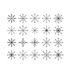 snowflake icons set isolated on white background vector image