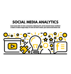 Social media analytics banner outline style vector