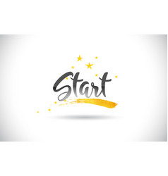 Start word text with golden stars trail and vector