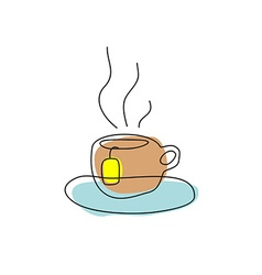 Tea cup with teabag hand drawing linear simple vector image