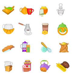 Tea food icons set cartoon style vector