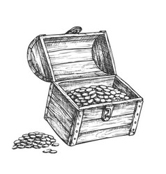 Treasure chest piles of coins around ink vector