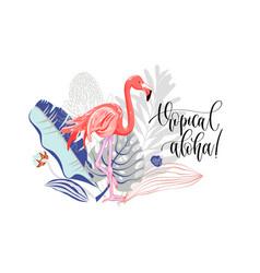 Tropical aloha - hand drawing slogan with flamingo vector