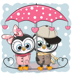 Two cute penguins with umbrella under the rain vector