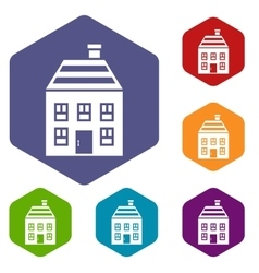 Two-storey house with chimney icons set vector