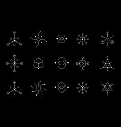 Ufo or spiritual geometry white symbol set circle vector