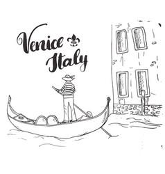 venice italy hand drawn sketch doodle gondolier vector image