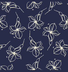 Watercolor flowers hand drawing seamless pattern vector