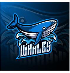 whale esport mascot logo design vector image