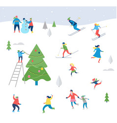 Winter sport scene with people having fun vector