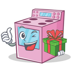 With gift gas stove character cartoon vector