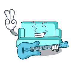 with guitar sofa mascot cartoon style vector image