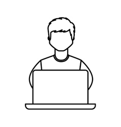 Young man avatar character with laptop vector