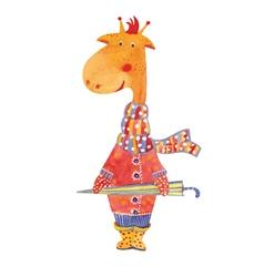 giraffe with umbrella vector image vector image