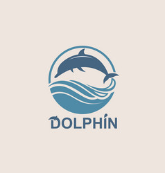 jumping dolphin emblem vector image vector image