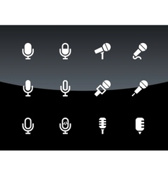 Microphone icons on black background vector image