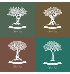Set of different natural olive oil trees logo vector image vector image