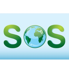 sos with globe vector image