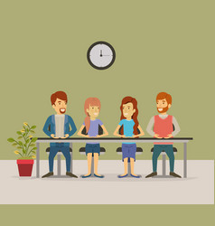 color background with teamwork sitting in table vector image