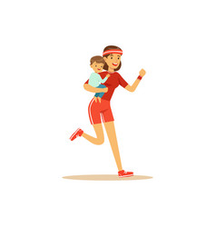flat super mom running character with child vector image vector image