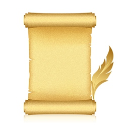 gold scroll feather vector image vector image