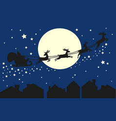 santa claus in sleigh silhouette on blue sky vector image vector image