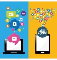 Smartphone laptop mobile apps design vector