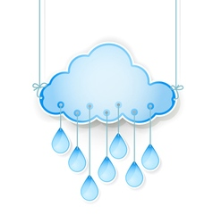 blue cloud with drops vector image vector image