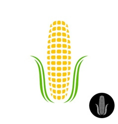 Corn logo Simple corn with grains and leaves vector image