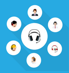 flat telemarketing set of help call center vector image vector image