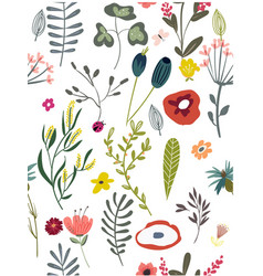 pattern with doodle flowers vector image