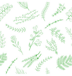 seamless pattern with green flowers and leaves vector image vector image