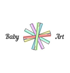Baby art sign with line paper strips vector