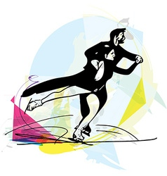 couple ice skaters skating at colorful sports vector image