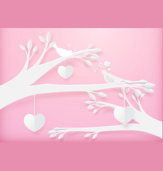 paper art cute heart shape mobile hanging vector image vector image
