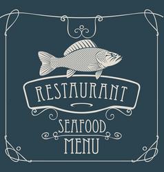 seafood restaurant menu with big fish vector image vector image