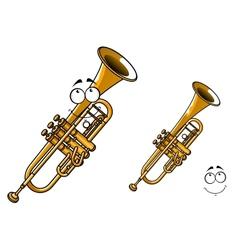 Shining brass trumpet cartoon character vector image