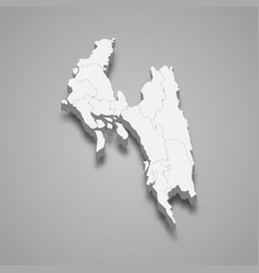 3d isometric map chittagong is a division of vector image