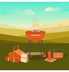 A barbecue outdoors vector