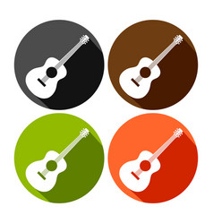 acoustic guitar round icon design set vector image