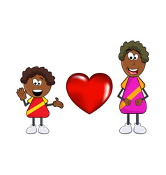 african black boy cartoon with mother and heart vector image