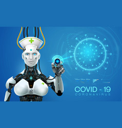 Ai robot mediic with corona virus covid 19covid vector