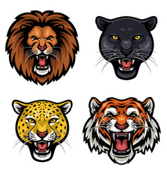 animal face collection vector image
