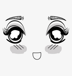 anime surprised tender woman face vector image