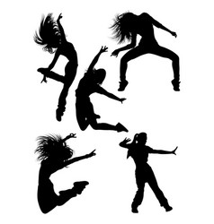 Attractive modern dancer silhouette vector