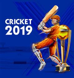 batsman playing game of cricket championship vector image