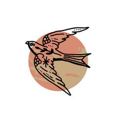Bird boho magical vintage distressed art symbol vector