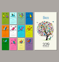 Birds tree calendar 2019 design vector